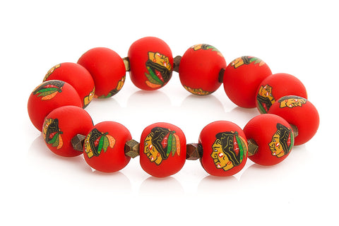 Blackhawks Large Bead Metric Bracelet