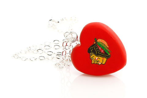 Blackhawks Heart Pendant Necklace