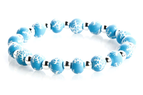 Winter Wonderland Small Bead Silver Round Bracelet