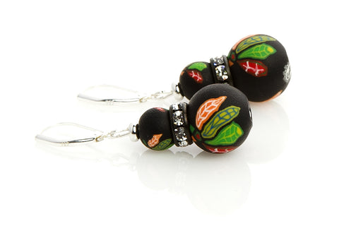 Blackhawks Large Bead Swarovski Crystal Earrings