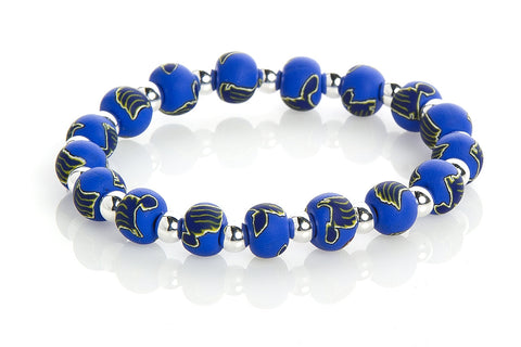 Blues Small Bead Silver Round Bracelet
