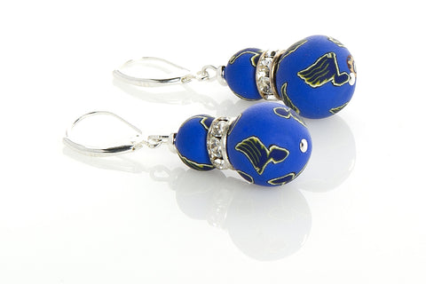 Blues Large Bead Swarovski Crystal Earrings