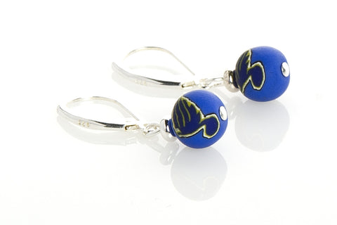 Blues Small Bead All Clay Earrings