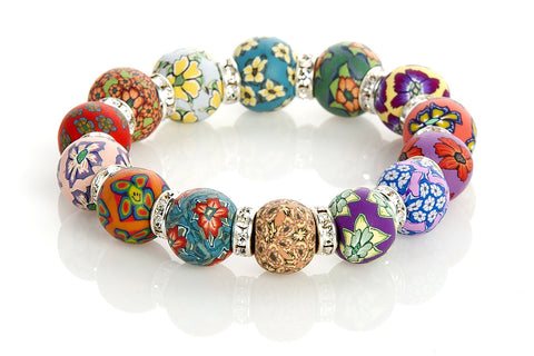 Multi Tropical Large Bead Swarovski Crystal Bracelet