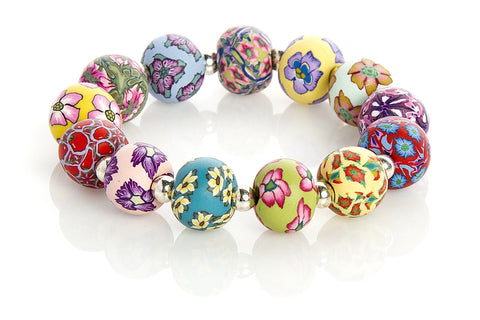 Multi Tropical Large Bead Silver Round Bracelet