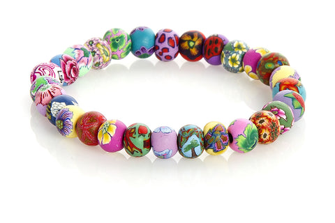 Multi Tropical Small Bead All Clay Bracelet