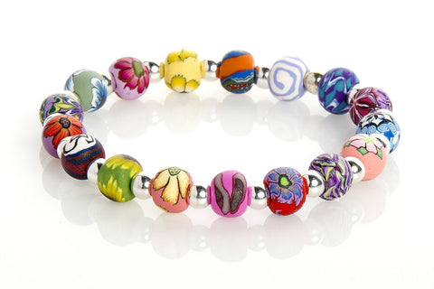Multi Tropical Small Bead Silver Round Bracelet