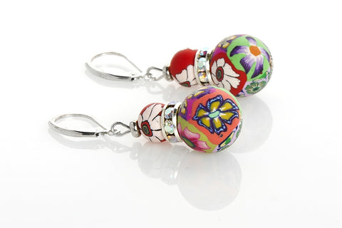 Multi Tropical Large Bead Swarovski Crystal Earrings