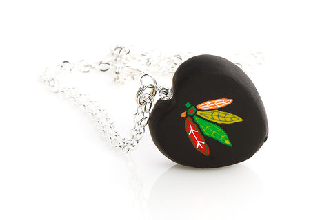 Chicago Blackhawks Black Feathers Heart Pendant