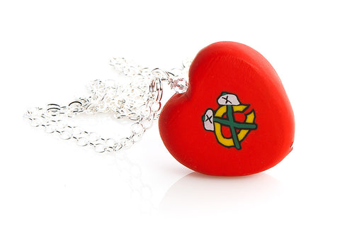 Chicago Blackhawks Red Tomahawk Heart Pendant