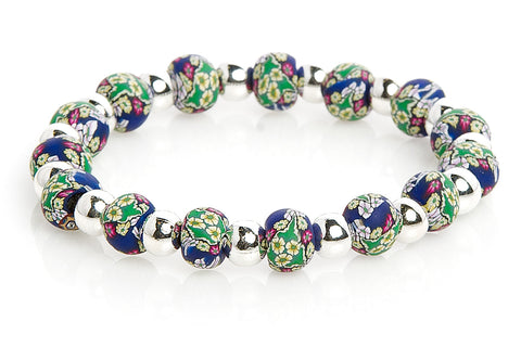 Annabel Small Bead Silver Round Bracelet