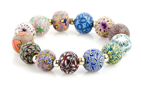 Multi Fall Large Bead Silver Round Bracelet