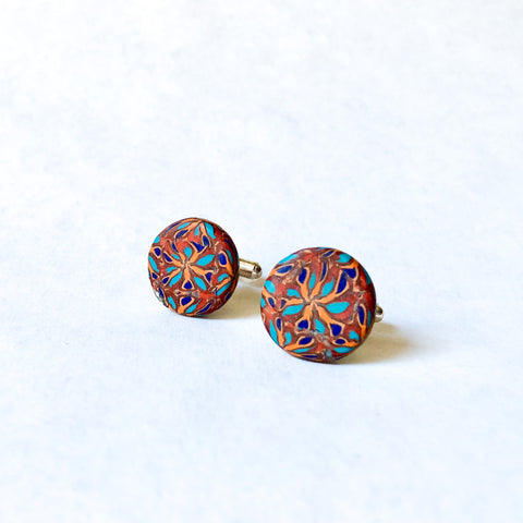 Father's Day Cuff Links- Brown/Orange