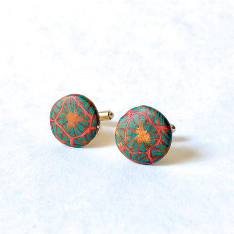 Father's Day Cuff Links- Green/Copper