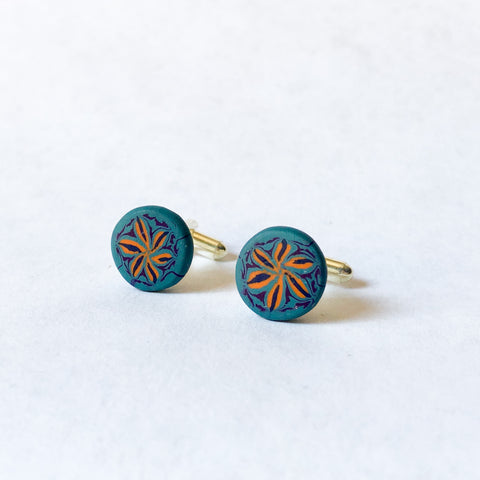 Father's Day Cuff Links- Blue/Orange