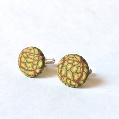 Father's Day Cuff Links- Green/Yellow