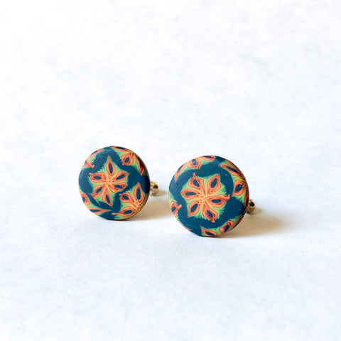 Father's Day Cuff Links- Navy/Orange