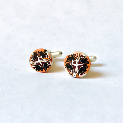 Father's Day Cuff Links- Black/Orange