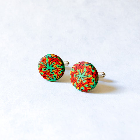 Father's Day Cuff Links- Red/Green