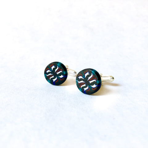 Father's Day Cuff Links- Dark Green/White