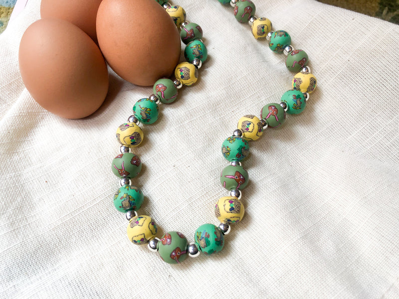 Easter Large Bead Necklace with Silver Rounds