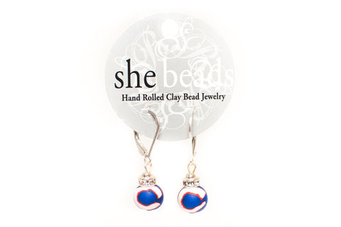 Cubs Small Bead Crystal Earrings
