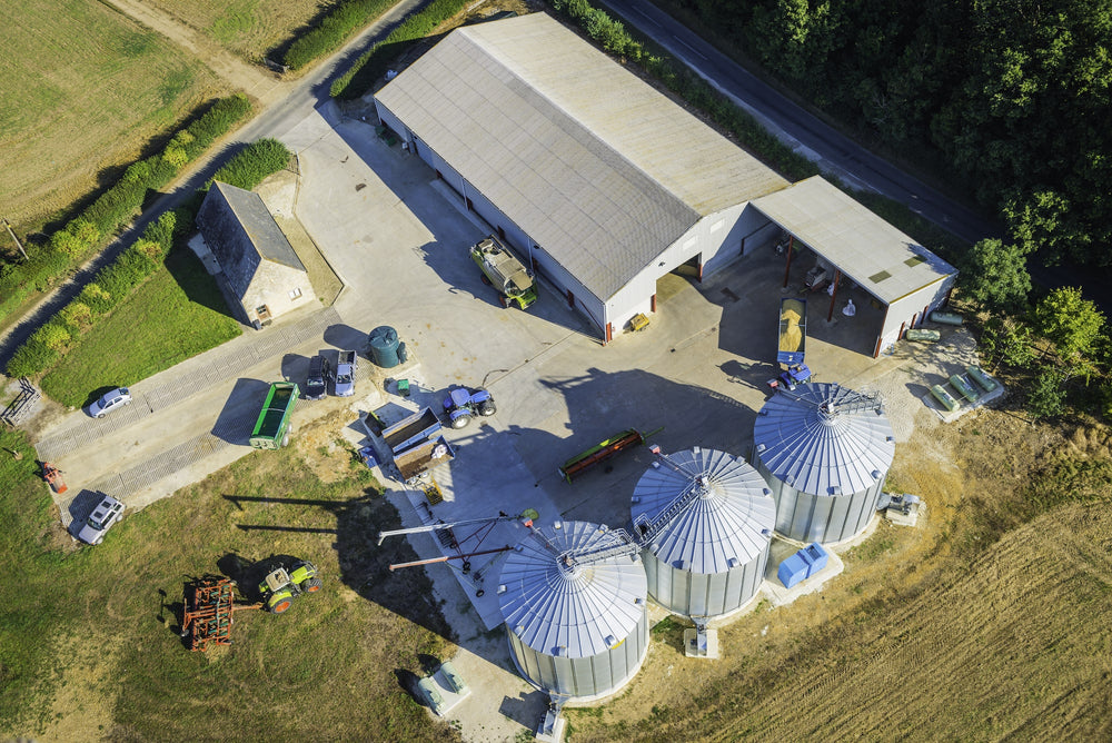 Overhead shot of farm and hemp extract processing facility to CBD oil.