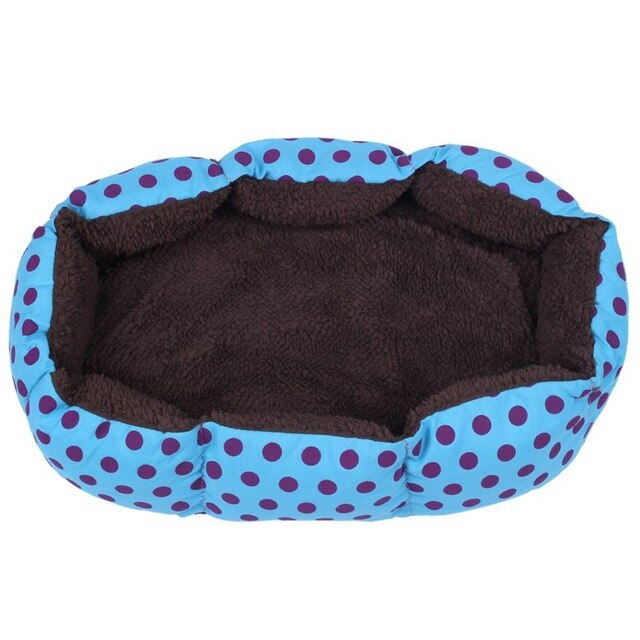 Practical Boutique Removable cushion House Bed for Pets Dog Cat S Blue, Black dots