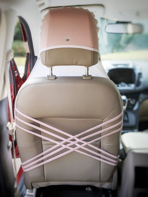 Pink post-workout car / vehicle seat cover for women. Beach, waterproof, compact, absorbent, machine washable. Anti-sweat. Beach bum. For sand and surf.