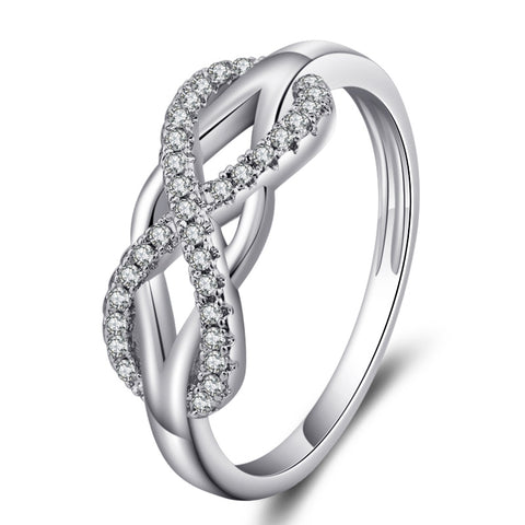 Wedding Ring Love Diamond Infinity Bowknot Rings for Women Rhinestone Jewelry
