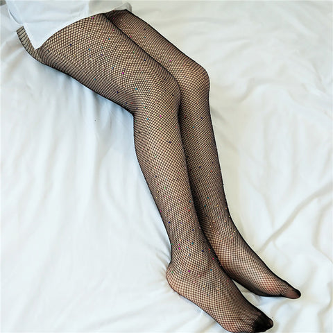 Sexy High Waist Tight Rhinestone Fishnet Stockings for Women