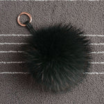 Faux Raccoon Fur Ball PomPom Keychain Phone Handbag Key Ring