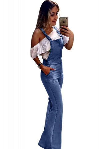 Retro Flared Denim Jean Dungarees