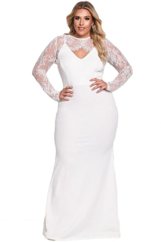 Plus Size Lace Bolero Mermaid Wedding Dress Evening Gown Dress