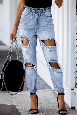 Distressed ruffled waist whitewashed jeans
