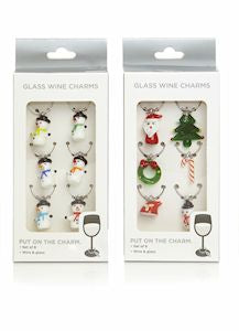 Set Of 6 Wine Charms 2 Assorted Styles