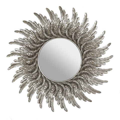 ROUND SILVER EFFECT ANGEL WING MIRROR