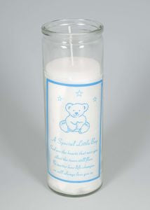 Little Boy Teddy Memorial Candle 18cm