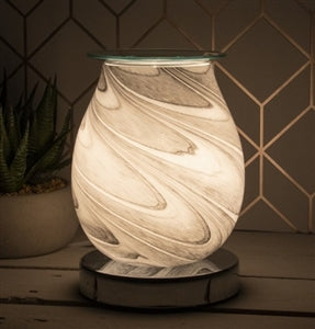 Glass Aroma Lamp with Touch Sensitive Base - Grey Marble