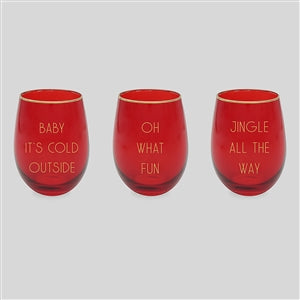Stemless Wine Glass With Festive Text 3 assorted
