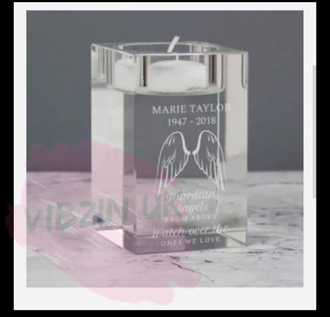 Angel Personalised  Wings Memorial Candle Holder Glass