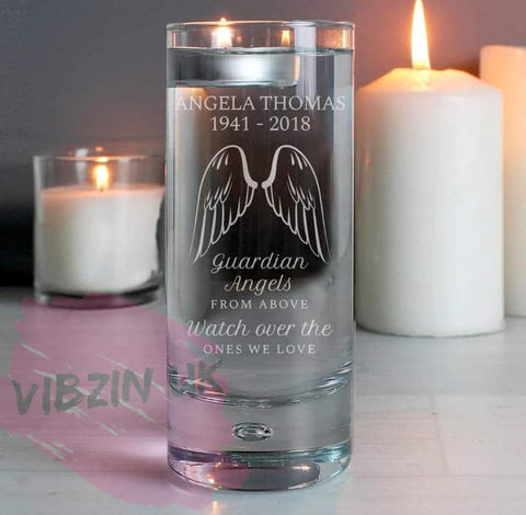 Angel Wings Memorial Tall Personalised Holder