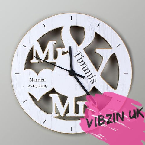 Personalised Wedding Mr & Mrs Wooden Clock