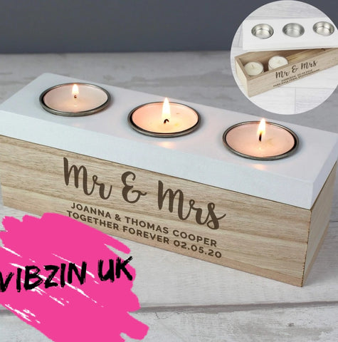 Wooden Personalised Tea Light Block Memory & Wedding Mr & Mrs