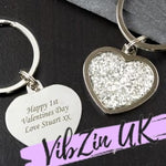 Personalised Valentines / Anniversary Silver Glitter Key Ring Gift