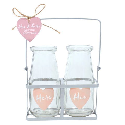 Glass His & Hers Mini Milk Bottle Set