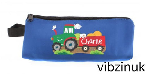 Personalised Pencil Case Tractor Blue