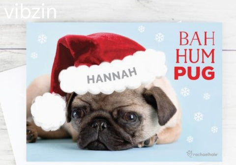 Personalised Xmas Pug Cards