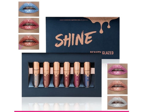 Beauty Glazed 6 Colours SHINE Liquid Shimmering Glitter for Lips and Eyes