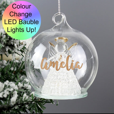 Personalised Christmas LED Angel Bauble Memorial